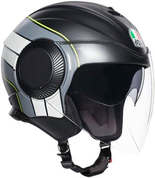 Immagine di CASCO ORBYT JET BRERA MATT BLACK/GREY/YELLOW FLUO AGV