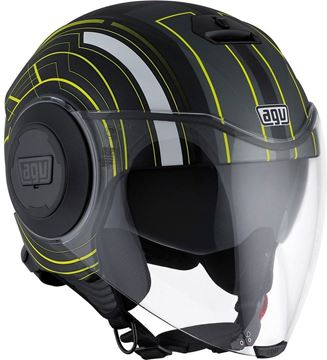 Immagine di CASCO JET FLUID CHIACAGO MATT BLACK/YELLOW AGV